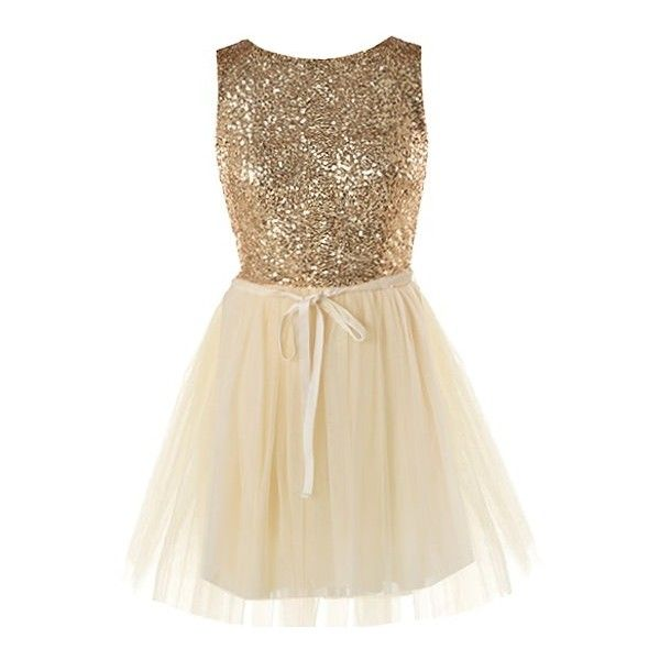 Gold Opulence Dress ($120) ❤ liked on Polyvore featuring dresses, vestidos, gold, glitter dress, ribbon dress, brown cocktail dress, sparkly cocktail dresses and gold glitter dress