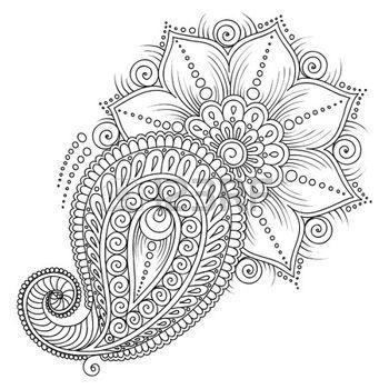 feather tattoo: Muster für Malbuch. Farbton-Buch-Seiten für Kinder und adults.Vector abstrakten floralen Elementen im indischen Stil. Henna Mehndi Tattoo Style Doodles Illustration