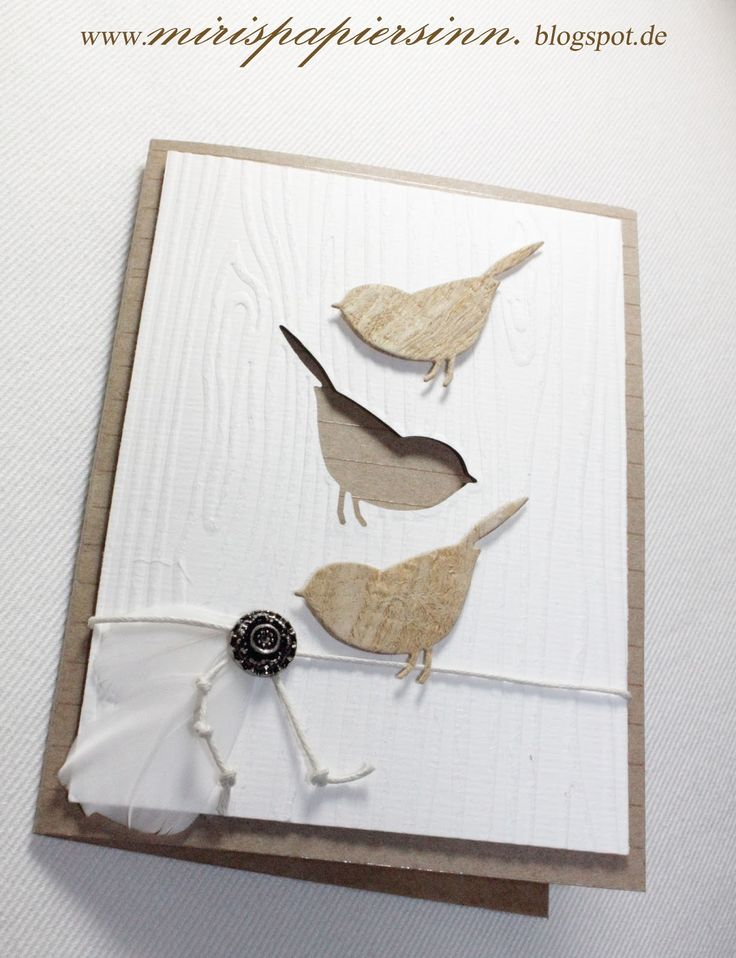Simple, pretty card for your Memory Box Perched Reedbird die and Woodgrain or Bark Embossing Folder.
