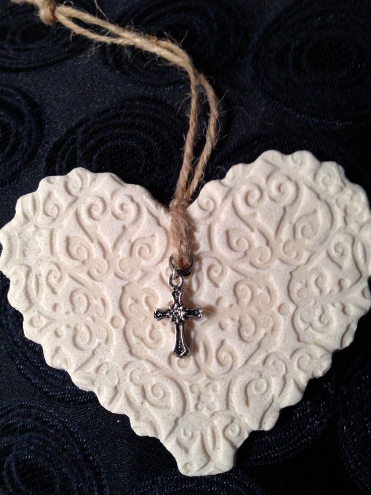 Handmade Rustic Salt Dough Heart with Cross Charm