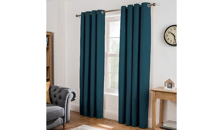 Bold and contemporary, these teal eyelet curtains from George Home will frame your windows beautifully. Made from 100% cotton, they're fully lined for a soft...