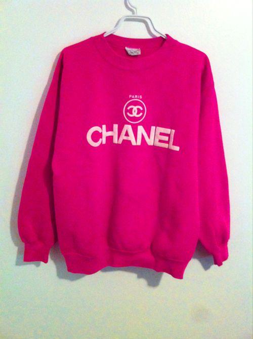 Fluorescent pink Chanel sweatshirt. I WANT I WANT I WANT I WANT!!!!!