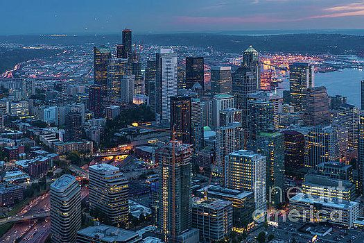 Over Seattle A Beautiful Downtown at Dusk Aerial Photography by Mike Reid