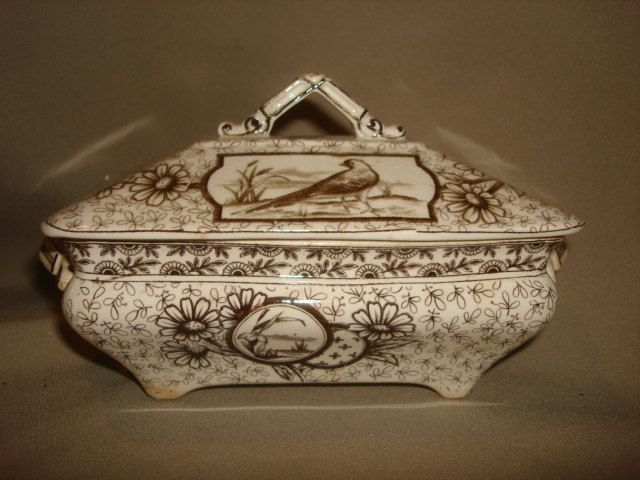 Antique Brown Transferware Covered SAUCE TUREEN ~ Ridgways Aesthetic Movement DEVONSHIRE 1885 ~ Bird & Daisies by PastPossessionsOnly on Etsy