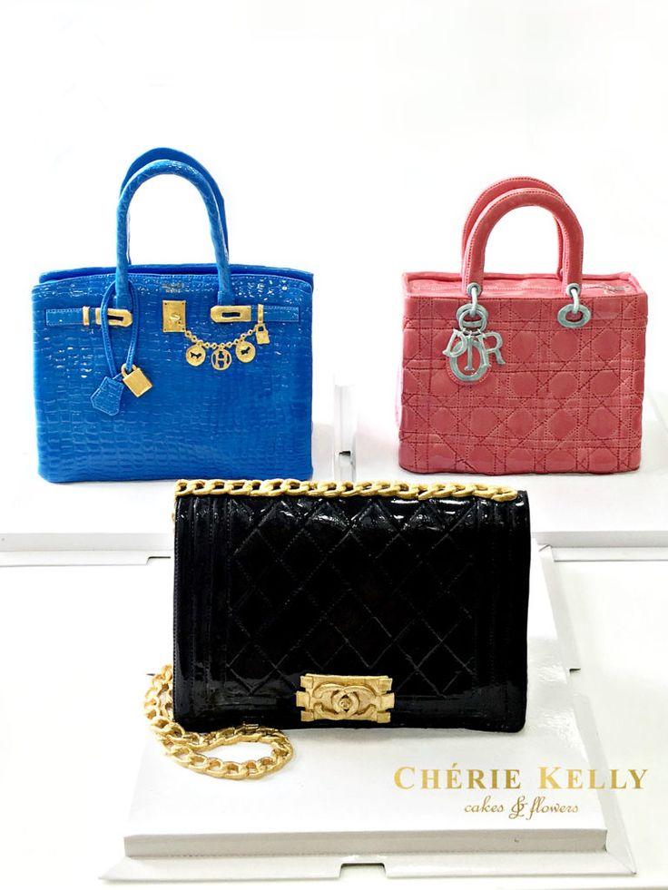 Blue Hermes Birkin Handbag Cake Pink Lady Dior Handbag Cake and Black Chanel Boy Cake Cherie Kelly London Hong Kong