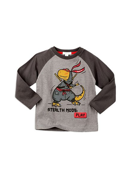 Pumpkin Patch -  - long sleeve tee with print - W5TB12029 - grey marle - 12-18m to 6