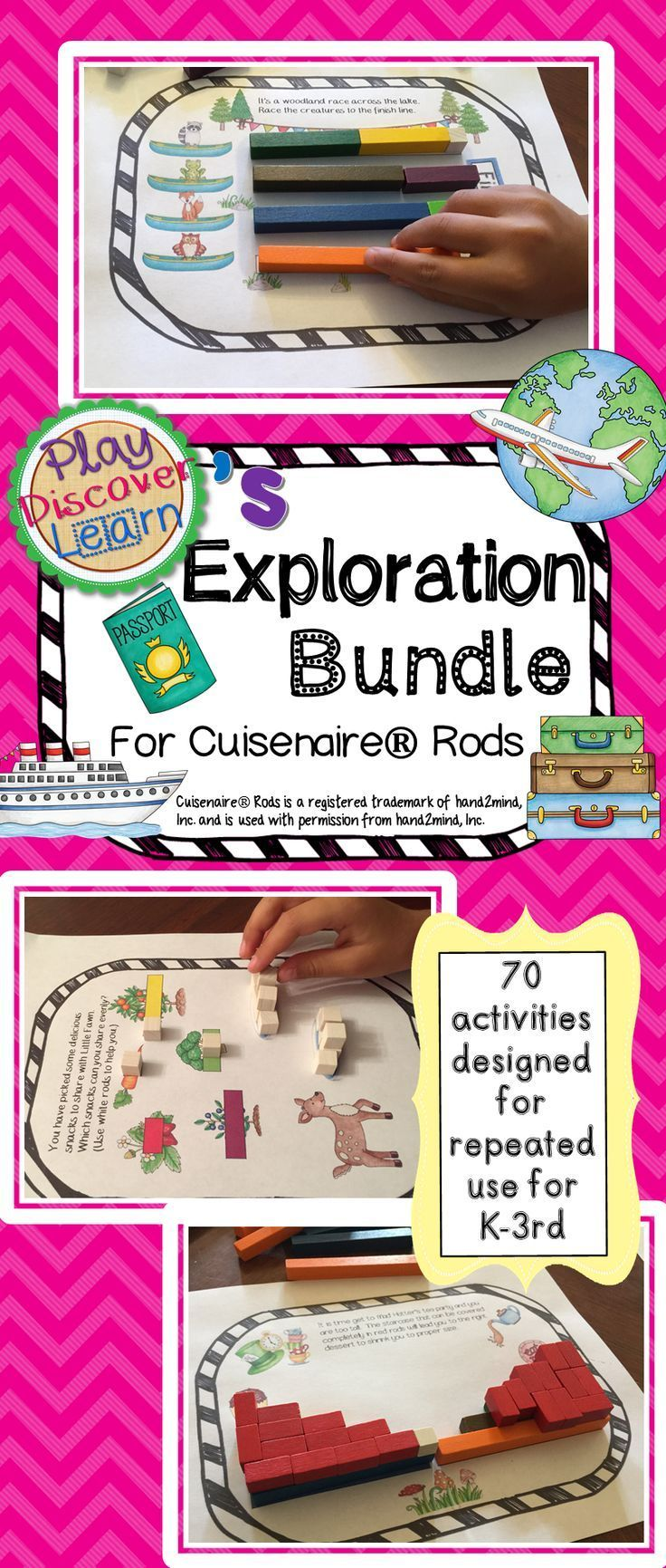 The bundle includes 70 hands-on activities and 220 student task cards that cover a wide range of elementary math concepts including number sense, odd and even numbers, addition, subtraction, multiplication, fractions, factoring, squares, algebra and more. Designed to appeal to the imagination of children to encourage repeated use of the activities to solidify the number sense with joyful discoveries. These activities are designed to be used with Cuisenaire® Rods.