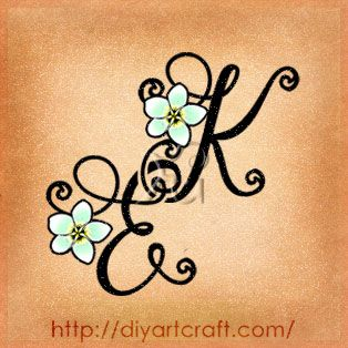 #Monogram #tattoo EK frangipani blossom. I really love this one. This just might be my first. I will have letter K & E for me and my husband, but will use stars or roses in a different color on my ankle or the top of my foot!!!