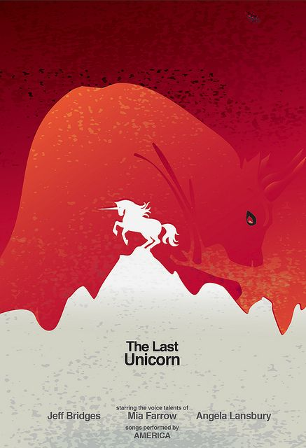 The Last Unicorn Minimalist Movie Poster by Nin(j)a, via Flickr - this is FANTASTIC and I wish they could have used it officially!