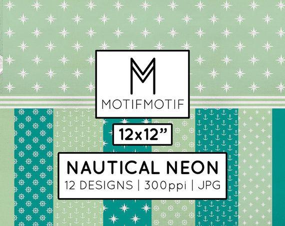 12x12 Mint Teal Printable Digital Paper Pack by MotifMotifShop, $8.00