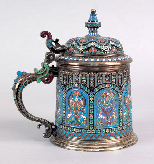 Russian silver-and-enamel tankard made circa 1900 with a clear maker's mark of OV Chinnikov