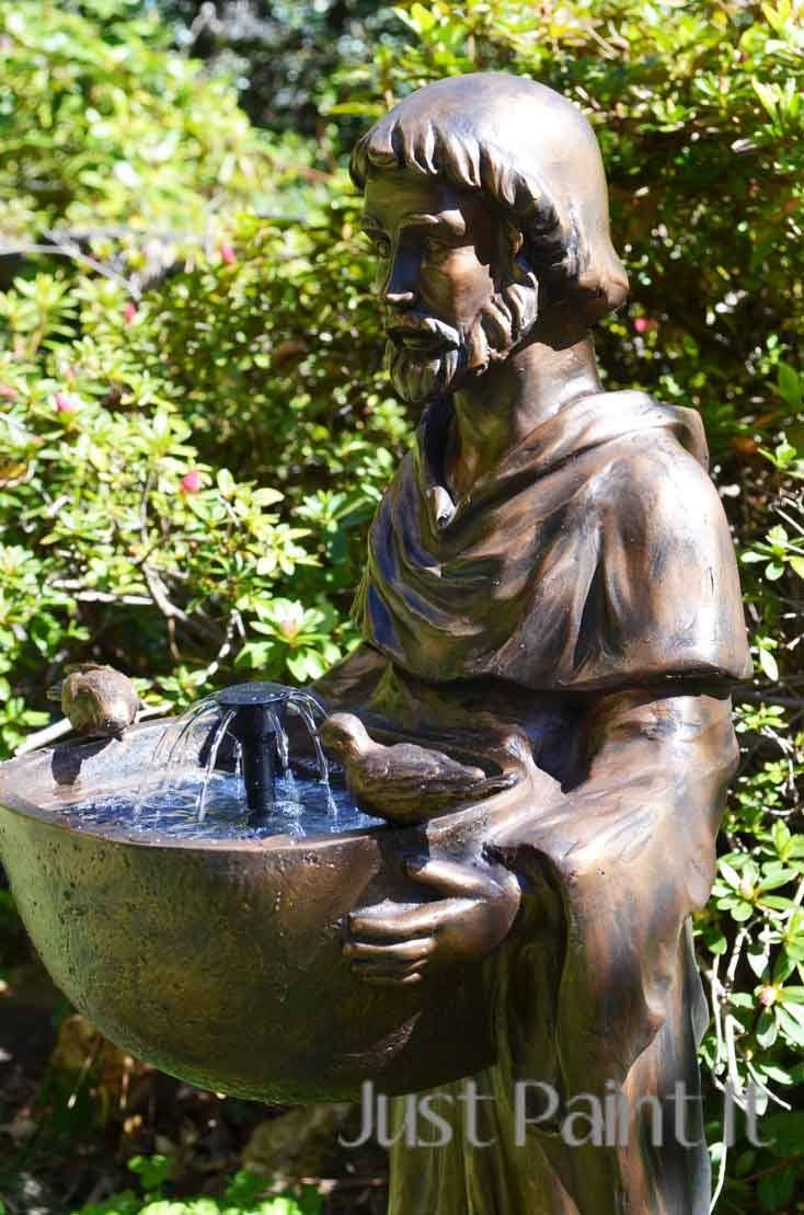 Water fountains masters - Modern Masters Antique Bronze Metallic Paint Transformed A Plain Manufactured Outdoor Fountain To A Garden Showpiece