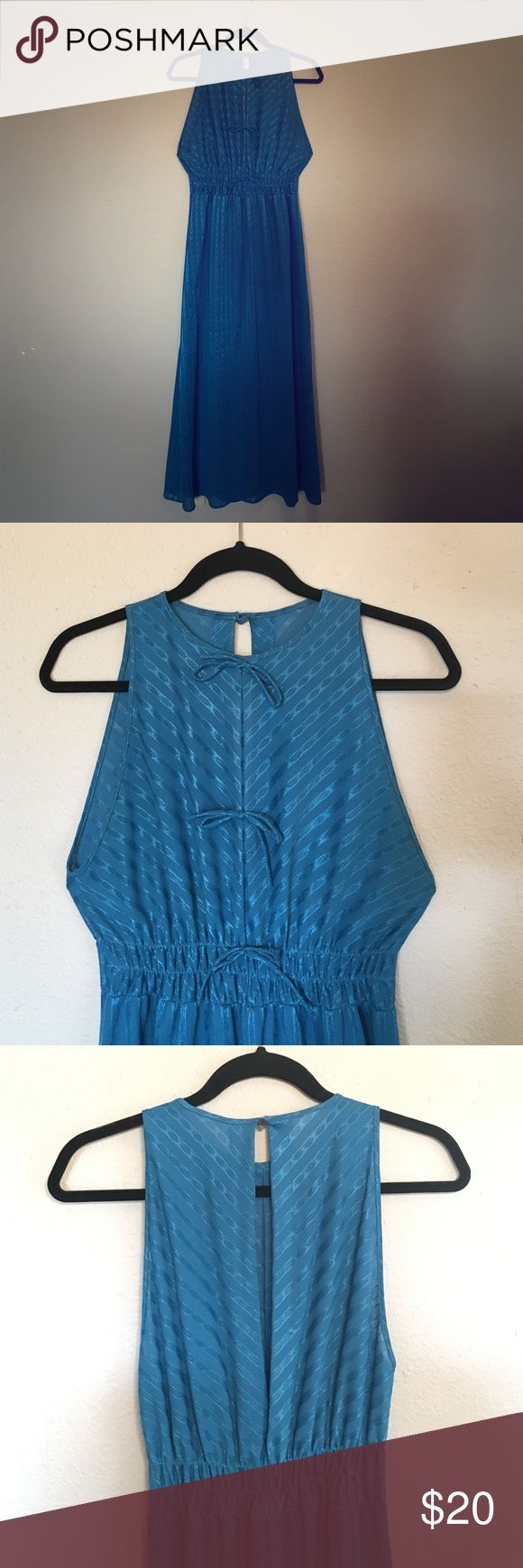 vintage blue on blue chevron maxi dress Gorgeous cerulean blue maxi dress. 70's disco dancing queen! Throw on some platforms and gold hoop earrings and get on the dance floor! Dresses Maxi