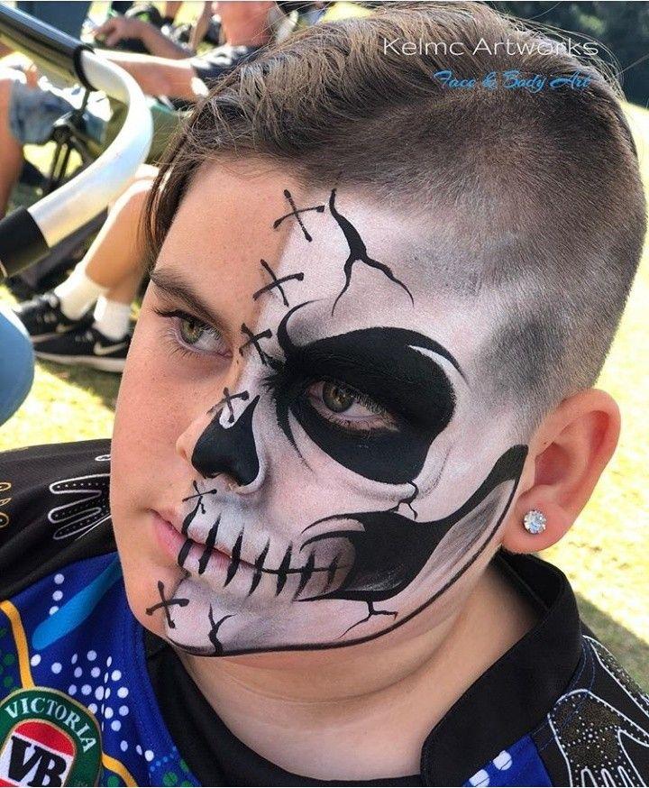 Https Www Youtube Com Watch V 7pgzarsfu7s T 22s Face Painting Halloween Boy Halloween Makeup Halloween Makeup For Kids