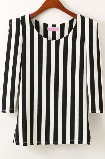 Black Half Sleeve Vertical Stripe Slim Blouse - Sheinside.com