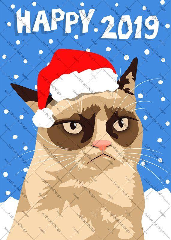 Internet Meme Grumpy Cat Happy 2020 New Year Card I Etsy Grumpy Cat New Year Card Cat Wallpaper