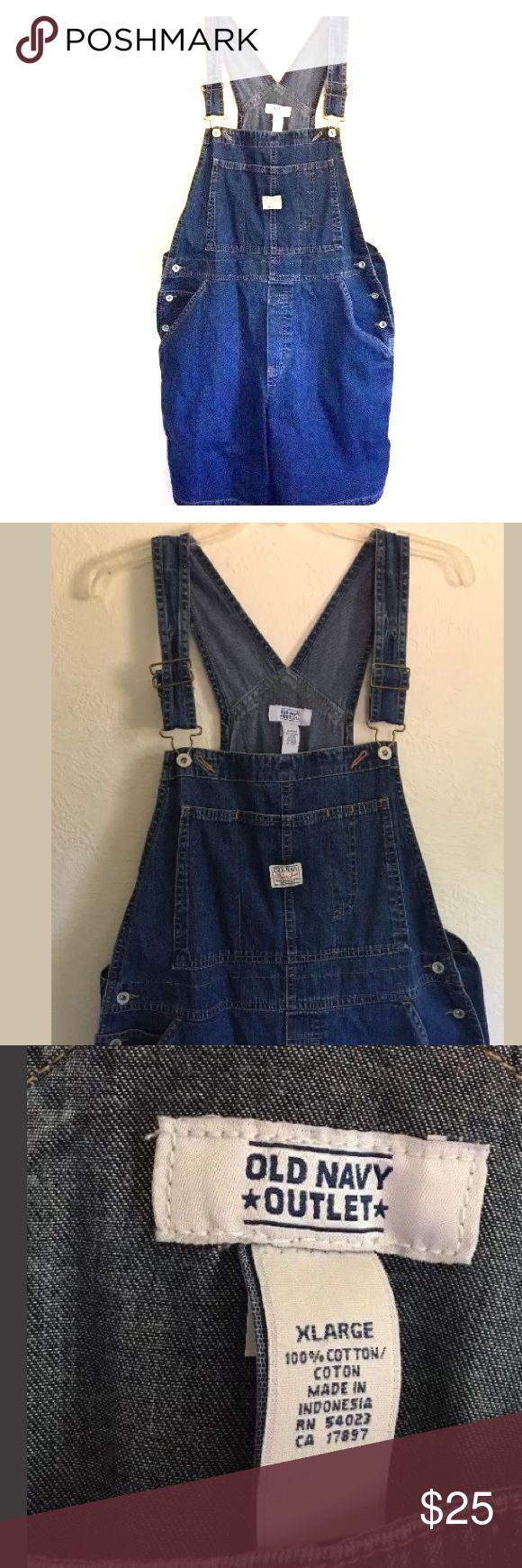 Old Navy Shortalls Old Navy Outlet Womens Size XL Blue Jean Denim Shortalls Bib overall Shorts; gently used condition, no flaws; 100% cotton Old Navy Jeans Overalls