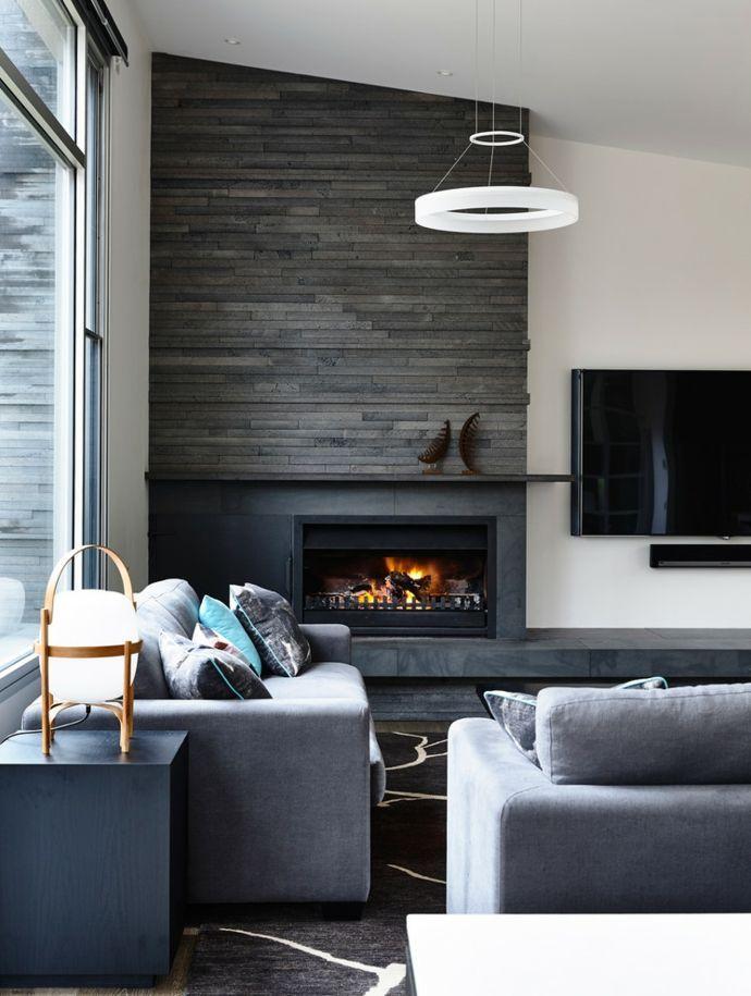 Wohnzimmer Mit Eckkamin Modern Designer Deckenleuchte Wohnzimmer