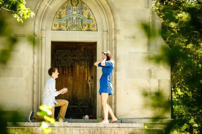 After being apart for 5 months, he surprised her with a series of love notes and a proposal.