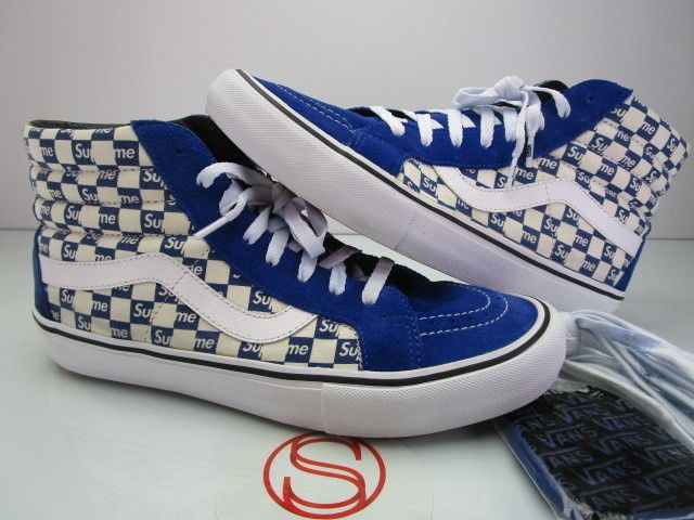 433fe68870 Vans Sk8 Hi Reissue SUPREME CHECKERS BLUE 11