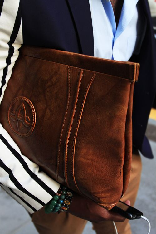 Roomy Leather Clutch big enough for laptops
