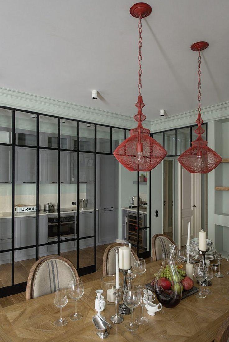 American kitchen and living room - Konyha A Nappaliban Vegfal M G Tt 105m2 Es Lak S Eklektikus St Lusban Pasztell Z Ld American Kitchen