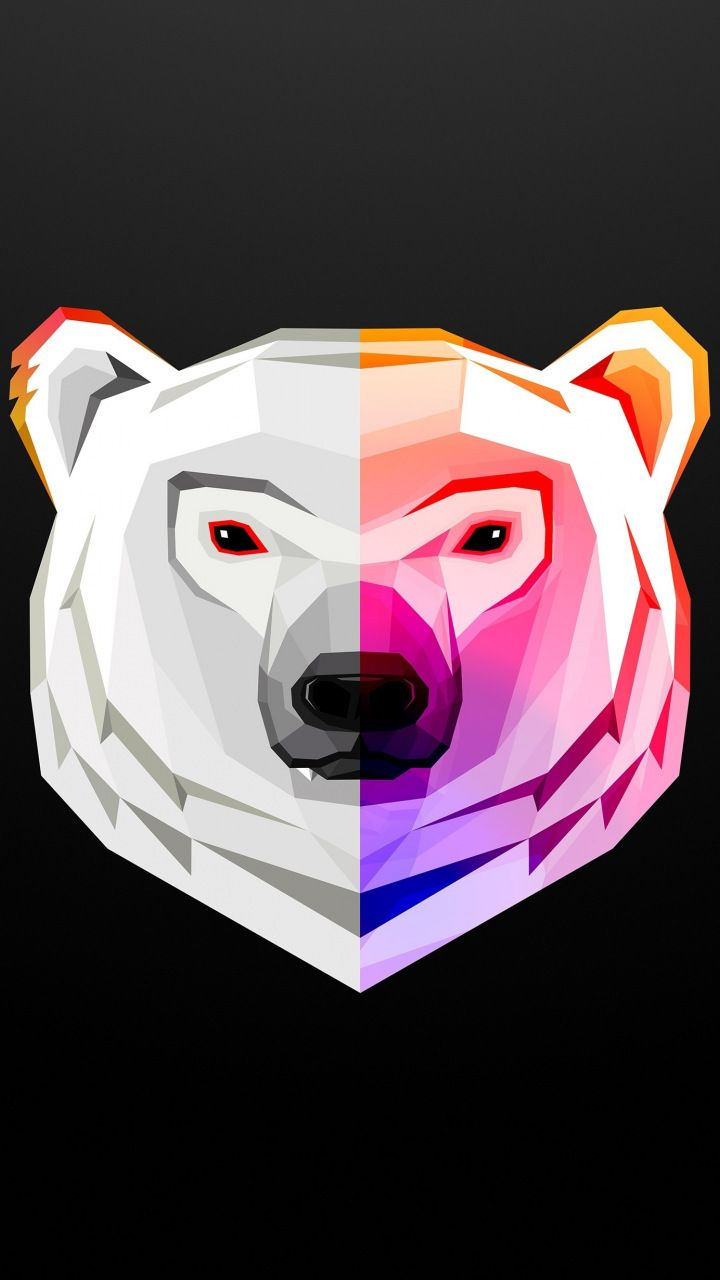 White Polar Bear Low Poly Digital Art Abstract Minimal 720x1280 Wallpaper Polar Bear Art Bear Art Art Wallpaper Iphone