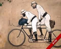 Image result for two men on bicycle painting
