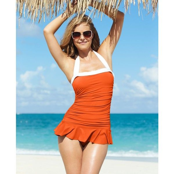 Lauren Ralph Lauren Halter Ruched Tummy-Control Swimdress (£82) ❤ liked on Polyvore featuring swimwear, one-piece swimsuits, tangerine, one piece swimsuit, halter swimsuit, retro bathing suits, shirred one piece swimsuit and swim suits