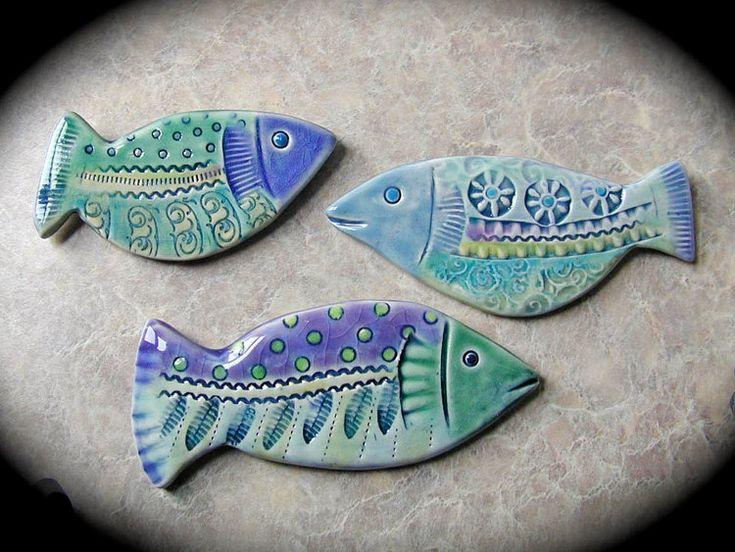 Little School of Ceramic Fish wall tiles by catfishcorner on Etsy