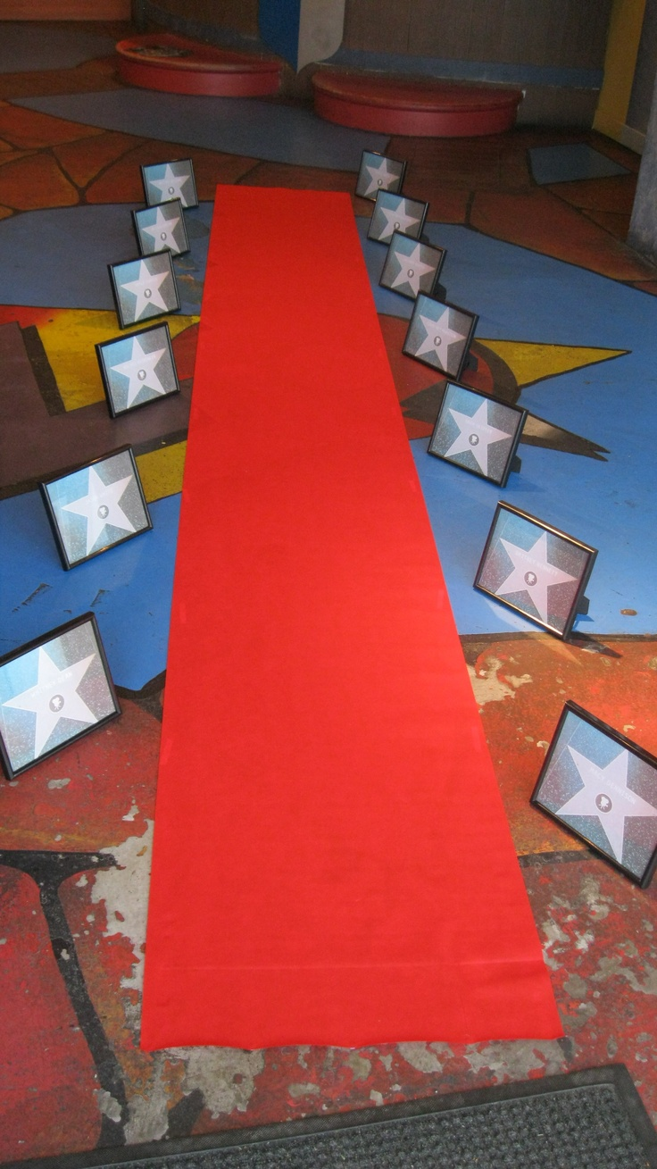 Hollywood party walk of fame with name generator online, 8x10 prints, and cheap frames from the dollar store