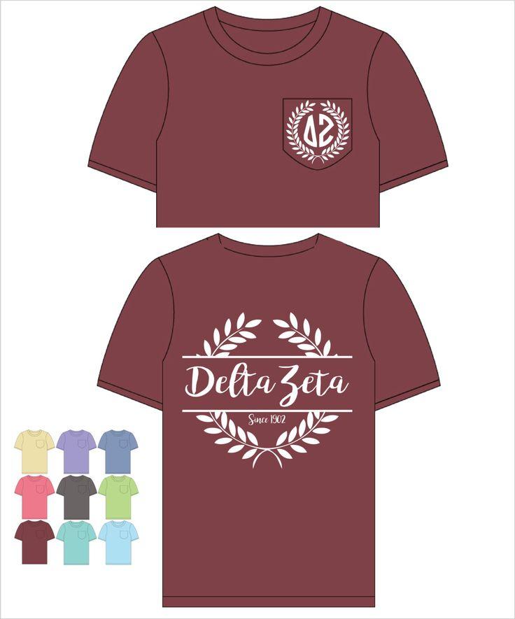 Delta Zeta // DZ // Sorority Comfort Color Pocket Tee (Nobilis)  Short Sleeve Tshirt // Greek Apparel // Choose Your Color by SimplySistersGreek1 on Etsy https://www.etsy.com/listing/472340599/delta-zeta-dz-sorority-comfort-color
