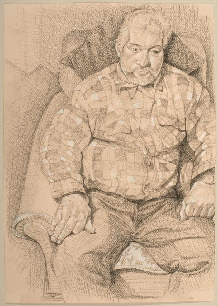 Toby Wiggins 'Tony Cottrell; Thatcher, east Dorset' pencil and chalk portrait drawing on paper