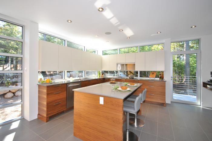 Cuisine - Moderne - Placage de Noyer noir - Poubelle et recyclage coulissants | cuisine-dls Creations de la Sablonniere