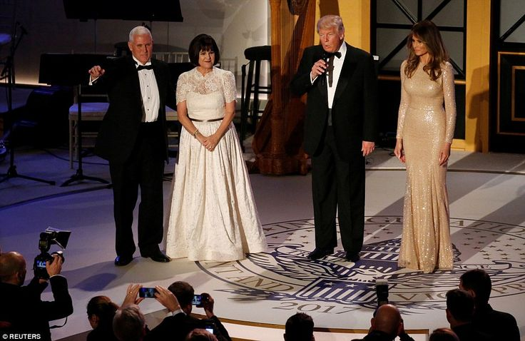 Vice President elect Mike Pence welcomed the Trumps onto the stage with his wife Karen sho...