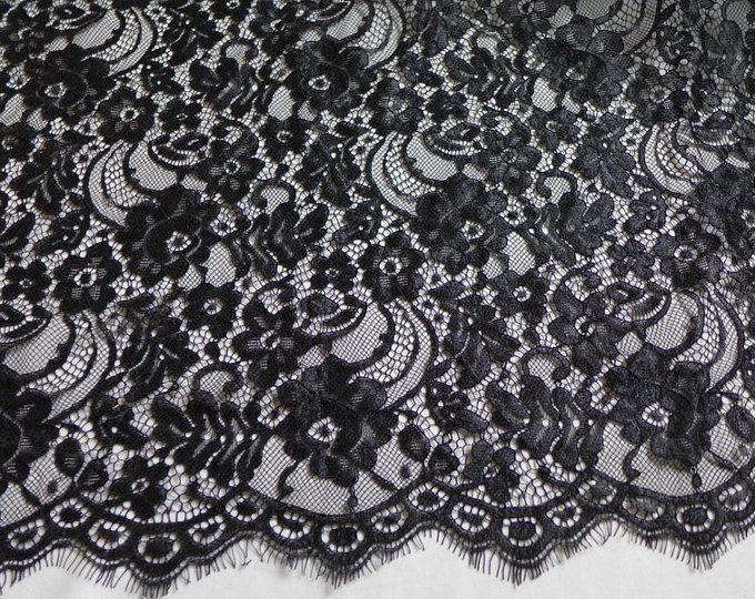 Black Lace Fabric Scalloped edge, Romantic Floral Fabric, Elegant Wedding Gown Lace Fabric, Black Lace Dress Fabric