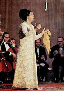 Umm Kulthum, widely regarded as the greatest female singer in Arab music history.