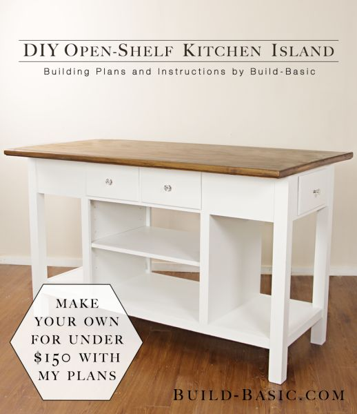 Build A DIY Open Shelf Kitchen Island U2013 Building Plans By Build Basic  @BuildBasic