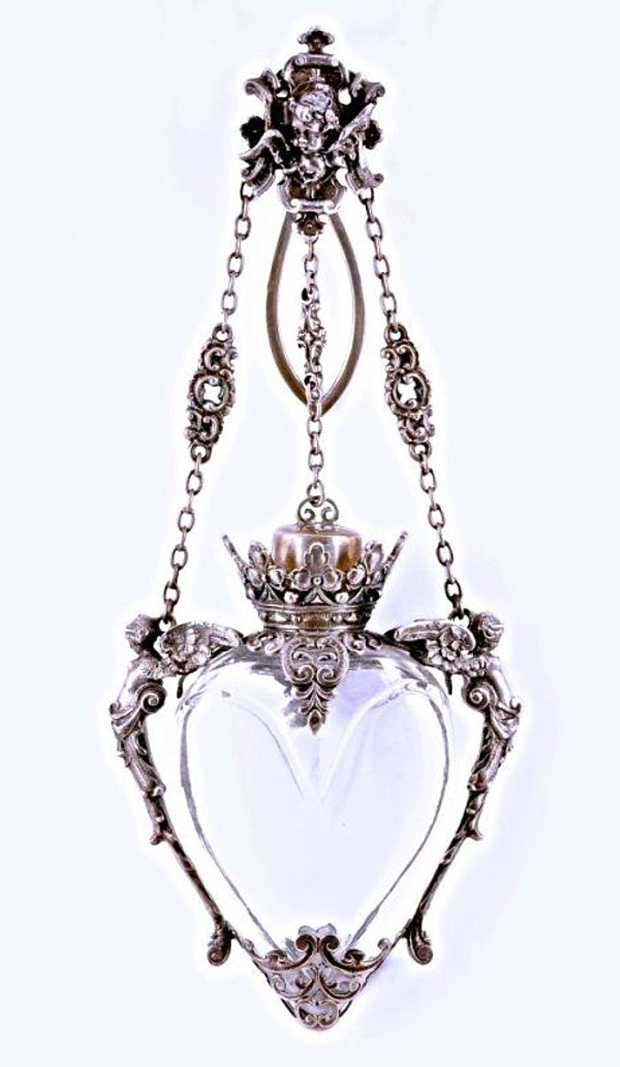 18th century German Chatelaine Perfume Bottle of hand-finished crystal. Ornate sterling silver mounts in the shape of angels <3