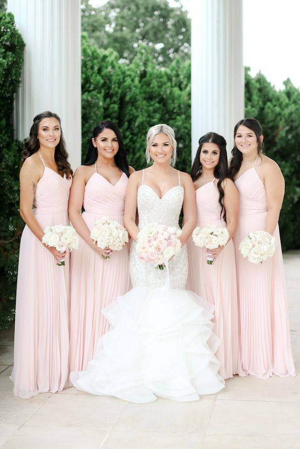Blush Hues And Romantic Details For This Glamorous Southern Wedding Blush Pink Bridesmaid Dresses Pink Bridesmaid Dresses Light Pink Bridesmaid Dresses