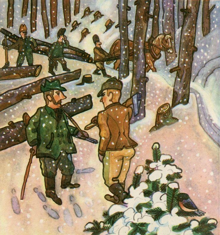 January - time for hunting and for logging. Leden – loví se a kácí se stromy.