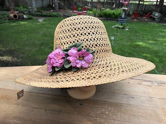 82ab3fcc Vintage Straw Hat Wide Brim Old Fashioned Sun Hat Pink Flower Floral Ladies  Summer Beach Garden Party Fancy Kathryn Hepburn Hollywood Hat