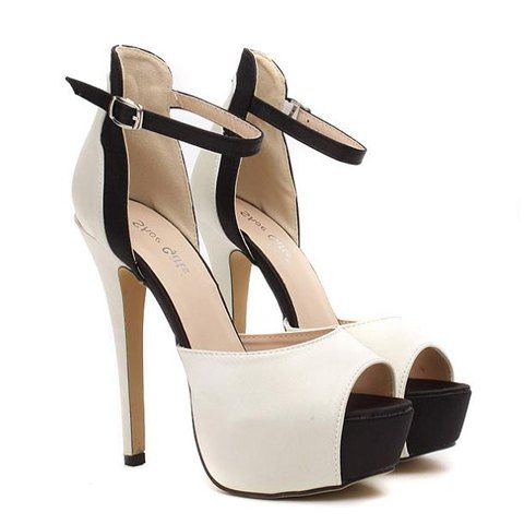 Sandália bicolor, salto alto meia pata. #Gorgeous