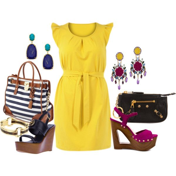 """Yellow Dress - Plus Size"" by alexa webb 2 awesome ways to wear a  yellow Jersey dress with wrapping belt and make it ""pop"""