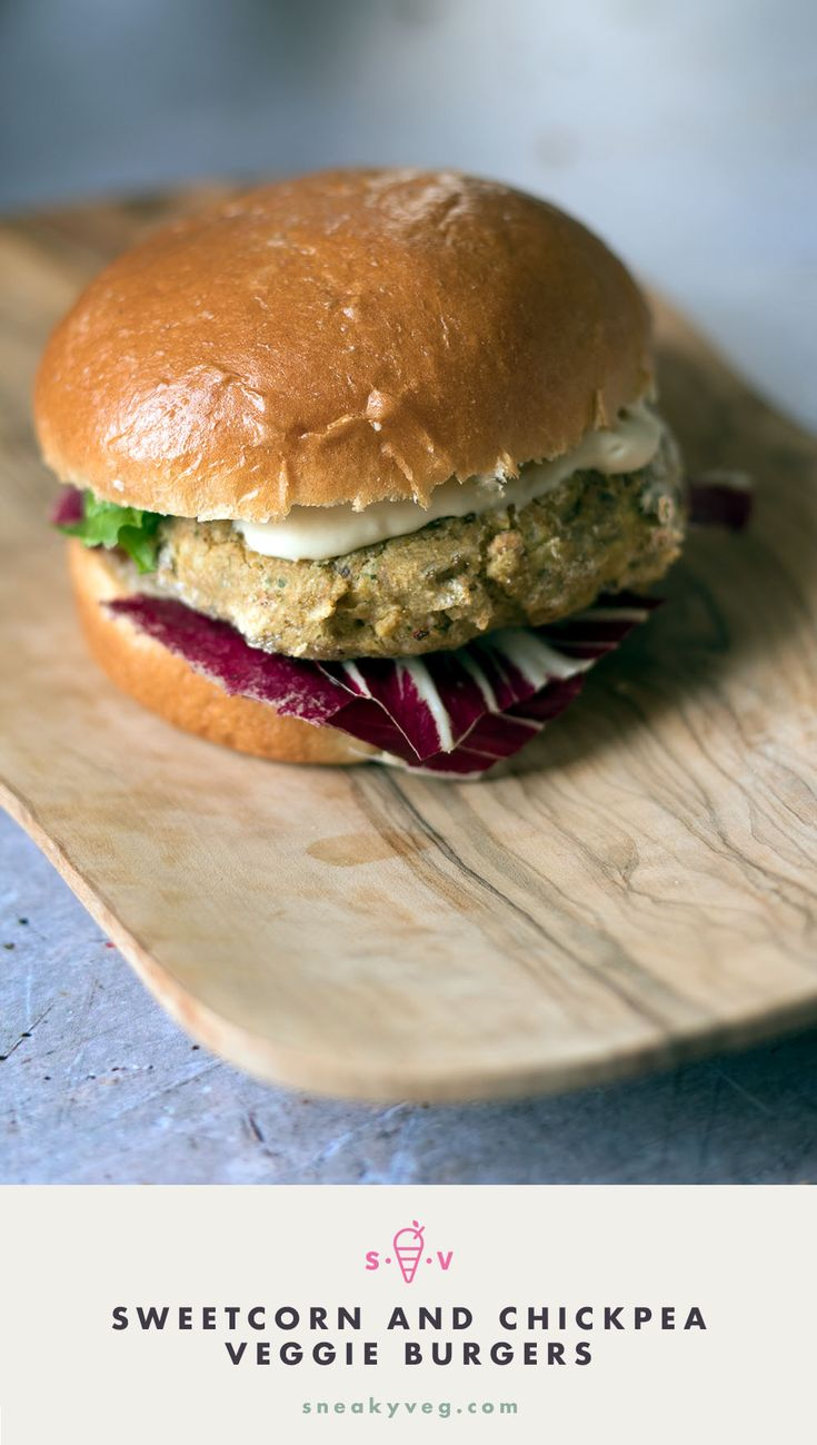sweetcorn and chickpea veggie burgers