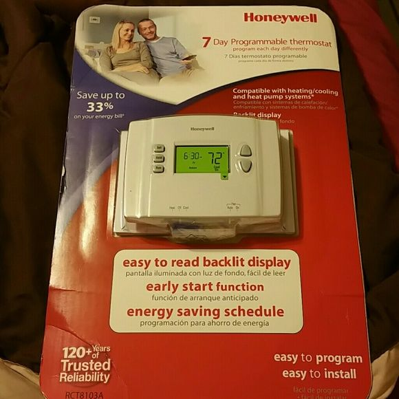 Honeywell programmable thermostat Honeywell 7-Day programmable thermostat program each day differently if desired compatible with Heating and Cooling and heat pump systems backlight display easy to read early start functions energy saving schedule brand new still in package easy to program and easy to install Honeywell Other