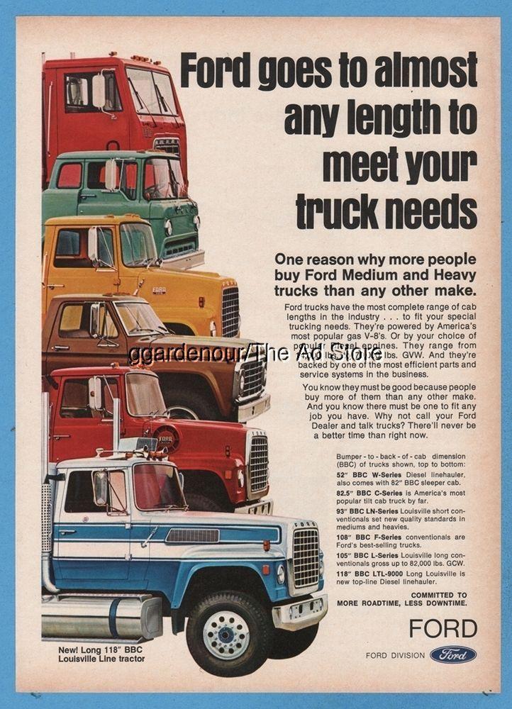 Lincoln Motor Company >> 1976 Ford BBC W C LN F L Series truck Louisville Line semi tractor LTL9000 ad | Vintage Ford ...
