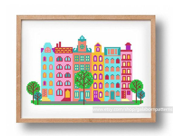 Amsterdam houses  PDF Counted cross stitch by galabornpatterns, $8.40