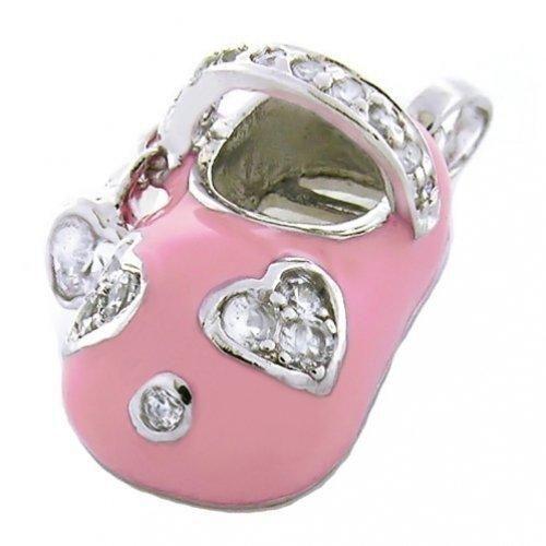 Bling Jewelry CZ Heart Pink Enamel Baby Shoe Charm Pendant