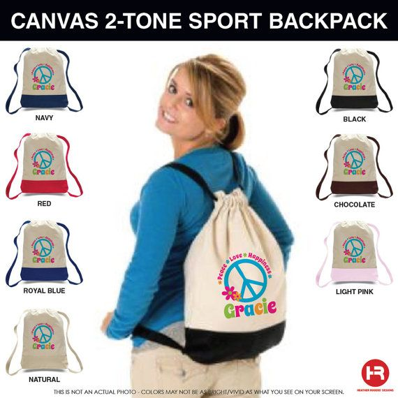 Peace Sign Backpack  Personalized Backpack by HeatherRogersDesigns, $18.00